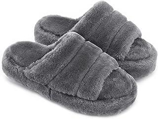 Honalika Comfy Open Toe House Slippers for Women Indoor, Cozy Soft Women's Memory Foam Home Slippers Slip On, Woman Breath...