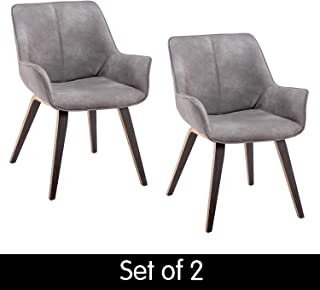 Homy Grigio Modern Leatherette Dining Room Accent Arm Chairs Club Guest with Solid Wood Legs (Set of 2,Earth)