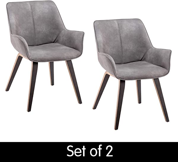 Homy Grigio Modern Leatherette Dining Room Accent Arm Chairs Club Guest With Solid Wood Legs Set Of 2 Earth