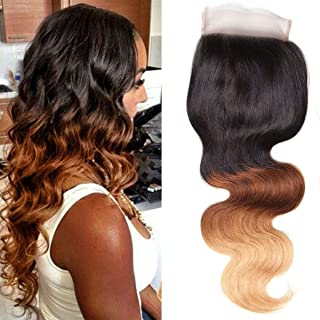UNice Hair Icenu Series 8a Grade Brazilian Ombre Body Wave 4x4 Free Part Lace Closure 100% Human Remy Hair 3 Tone 1b/4/27 Color (14Closure)