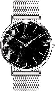 Mendozza Black Marble Designer Montre pour femme en verre saphir Noir