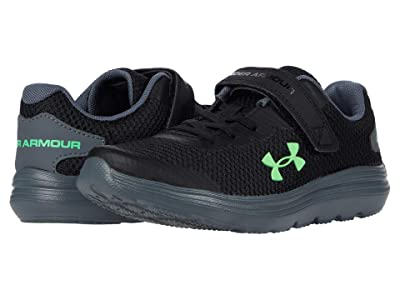 Under Armour Kids Surge 2 (Little Kid) (Black/Pitch Gray/Laser Greeb) Boys Shoes