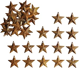 Mini Country Rusty Barn Star with Hole,Rustic Primitive Vintage Gifts Wall/Door Decor, 1-1/4Inch, Set of 27.