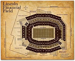 Lincoln Financial Field Football Seating Chart - 11x14 Unframed Art Print - Great Sports Bar Decor and Gift Under $15 for Football Fans