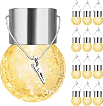 12-Pack Hanging Solar Lights Outdoor, Decorative Cracked Glass Ball Light, Solar Powered Waterproof Globe Lighting with Ha...