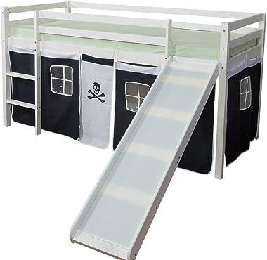 Décoshop26 Lit Mezzanine 90x200cm avec échelle Toboggan en Bois Blanc et Toile Noir Pirate LIT06117