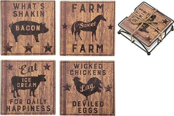 Primitives By Kathy Farmhouse Decorative Stone Coasters Set Of 4