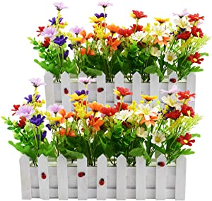 XONOR Artificial Flower Plants - Mixed Color Daisies in Picket Fence Pot for Indoor Outdoor Office Garden Wedding Home Decor (2 Sets, Daisy)