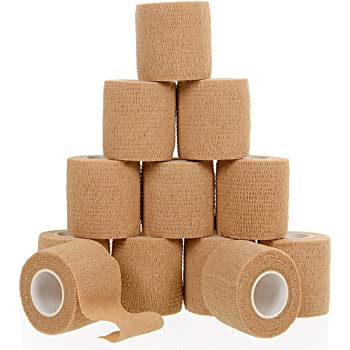 """Self Adherent Cohesive Wrap Bandages (12 Pack Bundle) - 2"""" Wide, 5 Yards All Sports Athletic Tape 