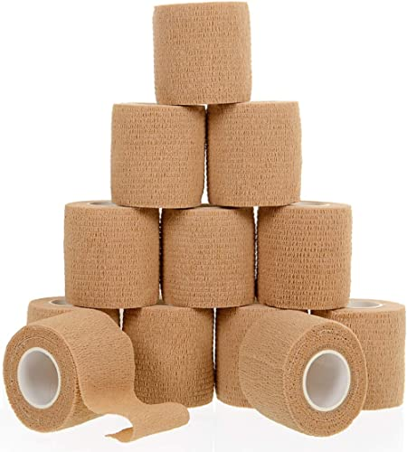 "Self Adherent Cohesive Wrap Bandages (12 Pack Bundle) - 2"" Wide, 5 Yards All Sports Athletic Tape 