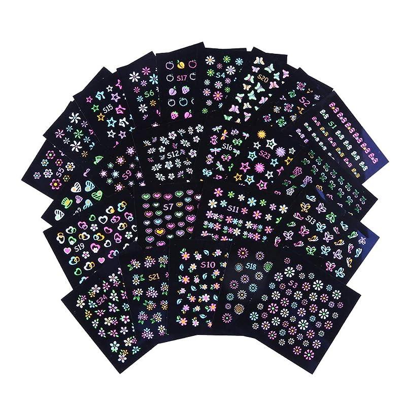 修復大事にする講堂Xiurues ネイルステッカー ネイルシール ネイルデコレーション 24枚 3Dネイルステッカー蛍光蝶の花びら かわいいネイルパーツ ファッションネイルスパンコール ネイルシェル 環境保護は爪を傷つけません ネイルアートパーツ