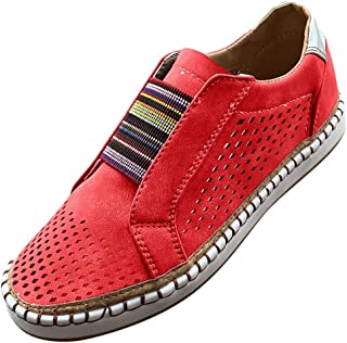 LENXH Women's Casual Shoes Round Head Flat Shoes Large Size Single Shoes Hollow Sports Shoes Solid Color Running Shoes