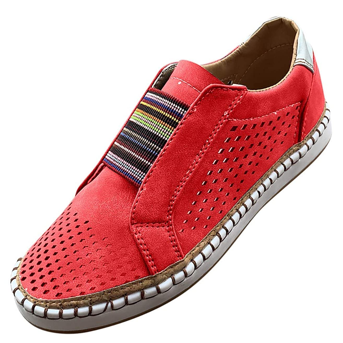 Kauneus Womens Flat Shoes Slip On Shoes Sneakers Running Sports Shoes Hollow-Out Round Toe Business Shoes