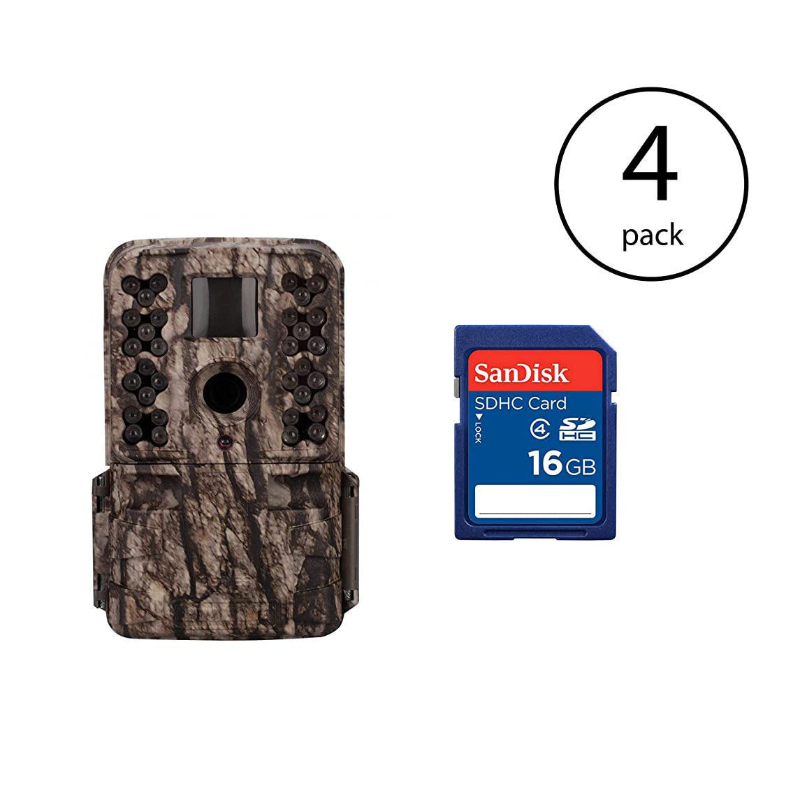 Moultrie M-50 20MP Infrared Game Trail Camera (4 Pack) + 16GB SD Card (4 Pack)