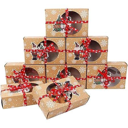 brownies cupcakes donuts regalando galletas 24 cajas de regalo para galletas navide/ñas de 22 x 15 x 7 cm con ventana emergente autom/ática para pasteles