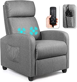 Giantex Recliner Chair for Living Room, Recliner Sofa Wingback Chair w/Massage Function, Padded Seat PU Leather Reclining ...