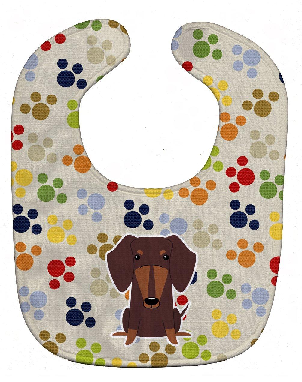 Caroline's Treasures BB5960BIB Pawprints Dachshund Chocolate Baby Bib, 10 x 13