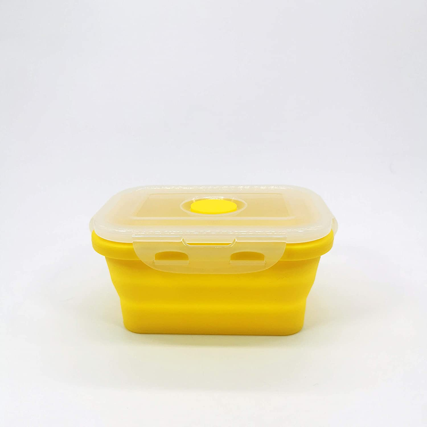JADEWELL Collapsible Food Storage Container Camper Accessories Rectangle Shaped Silicone Bowl with Matt Finish Lid Multicolor 350ML