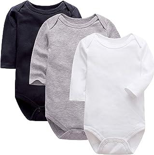 PROTAURI 3er Pack Baby Jungen Mädchen Bodysuit, Neugeborene Langarm Onesies Strampler Jumpsuit Baby Baumwolle Kleidung,0-24 Monate