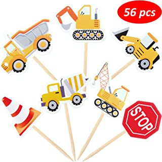 56 Pieces Construction Cupcake Toppers Dump Truck Tractor Cupcake Picks Excavator Car Party Cake Toppers for Birthday Baby Shower Party Decorations Supplies