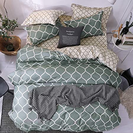 Qucover Geometric Bedding Double Bed 3 Piece Reversible Grey And Green Double Duvet Covers 200x200 Cm With Zipper Closure And 2 Pillowcase Amazon Co Uk Kitchen Home