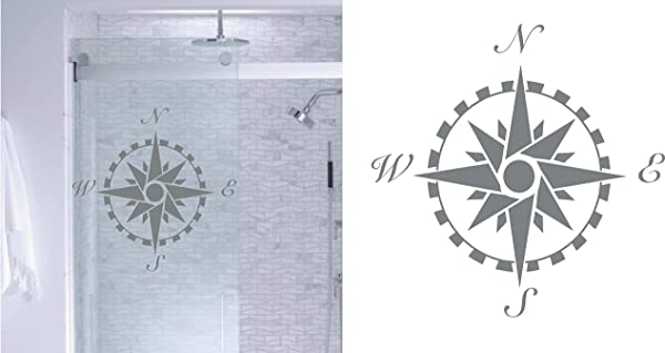 Compass Rose DIY Etched Glass Vinyl Window Film Privacy Shower Door Bathroom Decals Front Door Window Dressing Etched Glass Decal