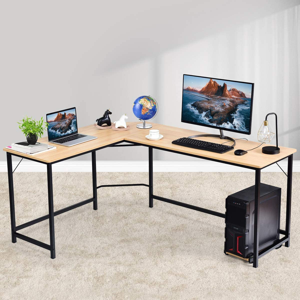 """Home Office Desks 66"""" L-Shaped Finally High quality new resale start Writing Desk Study Gamin Computer"""