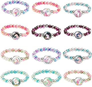 Hicarer 9 Pieces Colorful Unicorn Bracelet Girls Unicorn Bracelets Rainbow Unicorn Beaded Bracelet for Birthday Party Favors