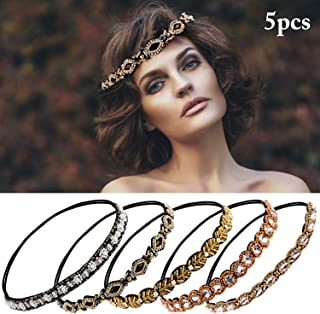 ZOYLINK 5PCS Womens Headband Fashion Assorted Elastic Rhinestone Head Wrap Hair Band