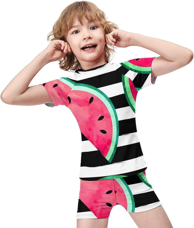 Yiaoflying Kids Boys 2 Piece Swim Set - Striped Watermelon Rashguard Swimsuit Trunks