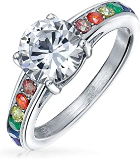 2CT Gay Pride Rainbow CZ Solitaire LGBT Couples Engagement Ring for Men for Women Silver Tone Stainless Steel Band