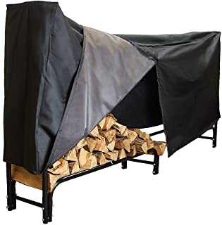 Sunnydaze 8-Foot Firewood Log Rack with Cover Combo, Outdoor Wood Storage Holder, Black