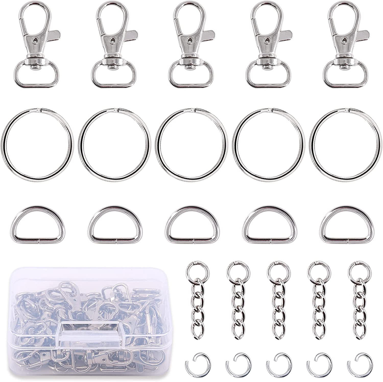 Swpeet 150Pcs Metal Lobster Chicago Mall Albuquerque Mall Claw Including 30Pc Kit Hook Clasps