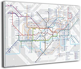 Canvas Wall Art Prints London Underground Map Tube Lines Photo Paintings Contemporary Decorative Artwork for Living Room Wall Decor and Home Decor Framed Ready to Hang 16x20 Inch