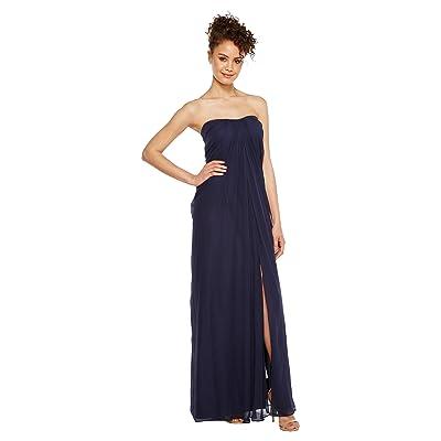 Aidan Mattox Strapless Shirred Chiffon Gown (Twilight) Women