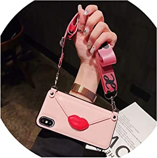Case for iPhone XR X 6 6S Plus 8 7 Plus XS MAX Case Luxury pu Leather Lips Card Wallet with Shoulder Strap Phone Lanyard,C,for iPhone Xs MAX