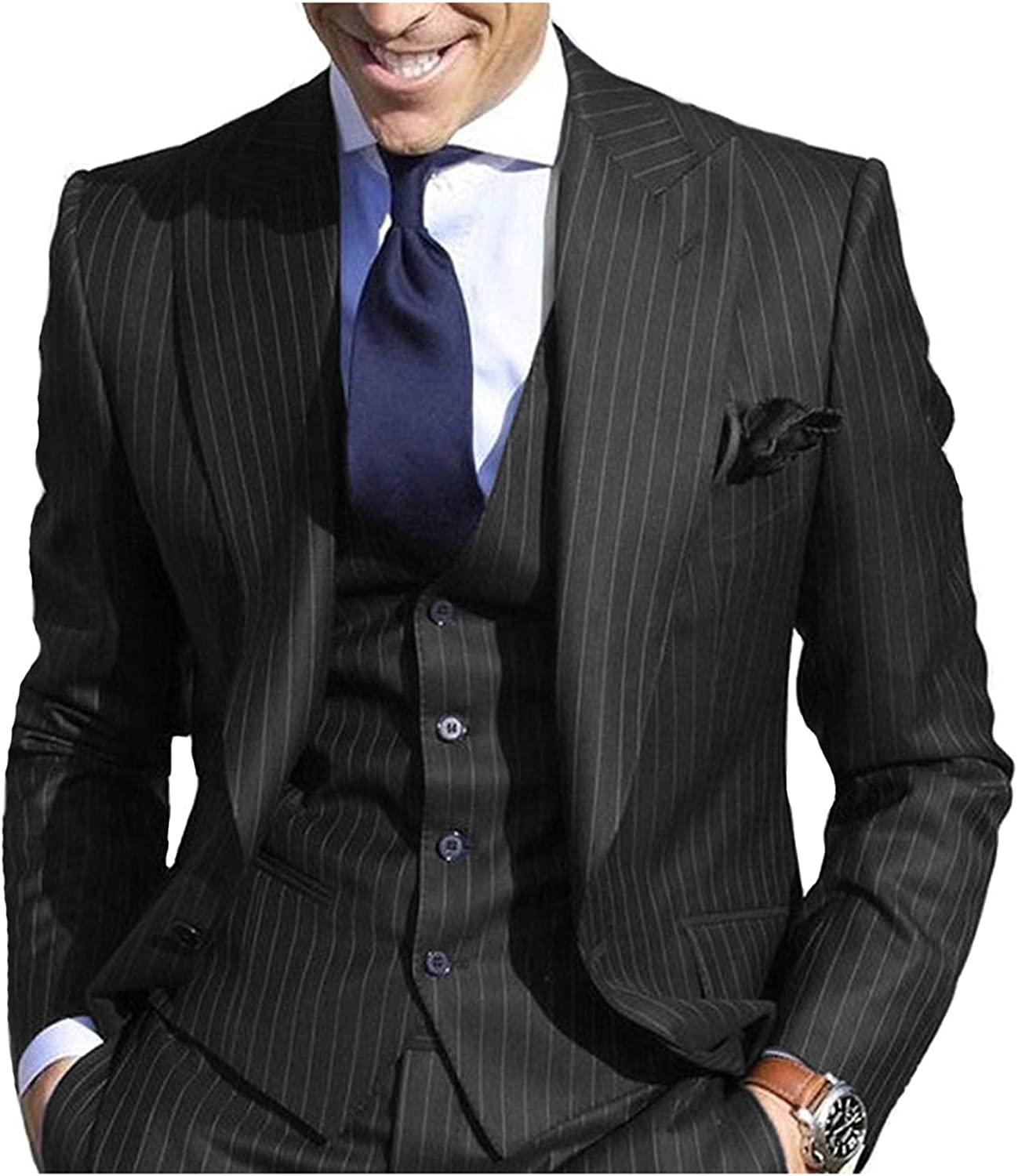JYDress Men's Pinstripe Suit Slim Stripe Fit Spring new work one after another Jacket Lapel Superior Peaked