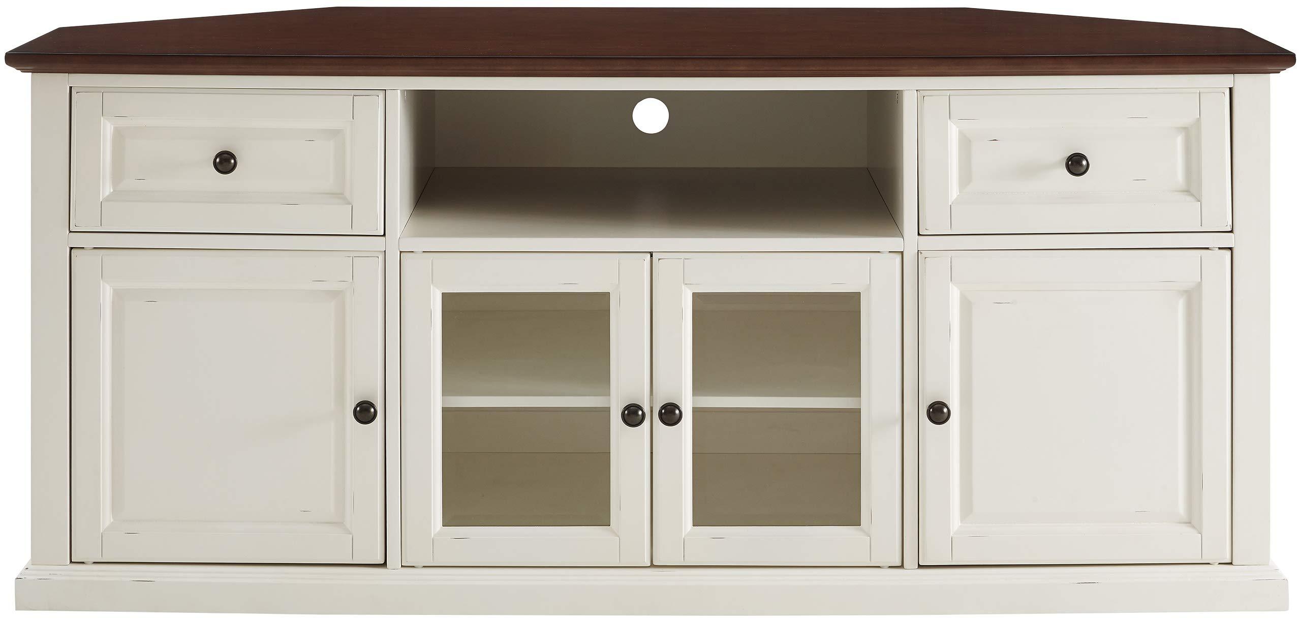 Crosley Furniture Shelby - Mueble esquinero para televisor (60 Pulgadas), Color Blanco y Caoba: Amazon.es: Juguetes y juegos
