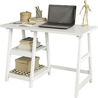 SoBuy® Mesa de Escritorio Mesa de Ordenador con 2 estantes Color Blanco FWT16-W ES (Mesa)