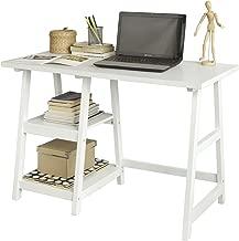 SoBuy® Mesa de Escritorio, Mesa de Ordenador con 2 estantes, Color Blanco, FWT16-W, ES (Mesa)