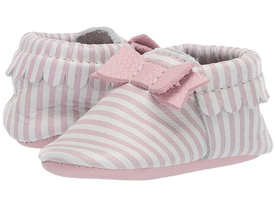 Freshly Picked Soft Sole Bow Moccasins Candy Shop (Infant/Toddler) (Pink Candy Stripe) Girls Shoes