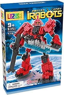 LOZUSA Red Robot 479 PCS Diamond Block Q162Mini Figure Hero Micro Blocks Construction Model, Micro-Sized Building Set Parent-Child Games Building Blocks Children's Educational Toys