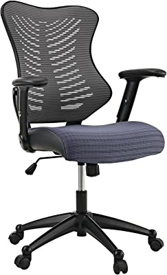 Modway Clutch Ergonomic Mesh Computer Desk Office Chair in Gray