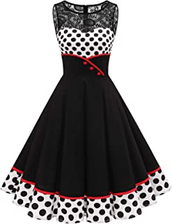 Bbonlinedress Women's 50s Vintage Floral Lace Retro Rockabilly Sleeveless Round Neck Cocktail Party Swing Dress