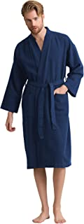 Men's Waffle Spa Bathrobe with 100% Turkish Cotton. Long, Lightweight, Absorbent