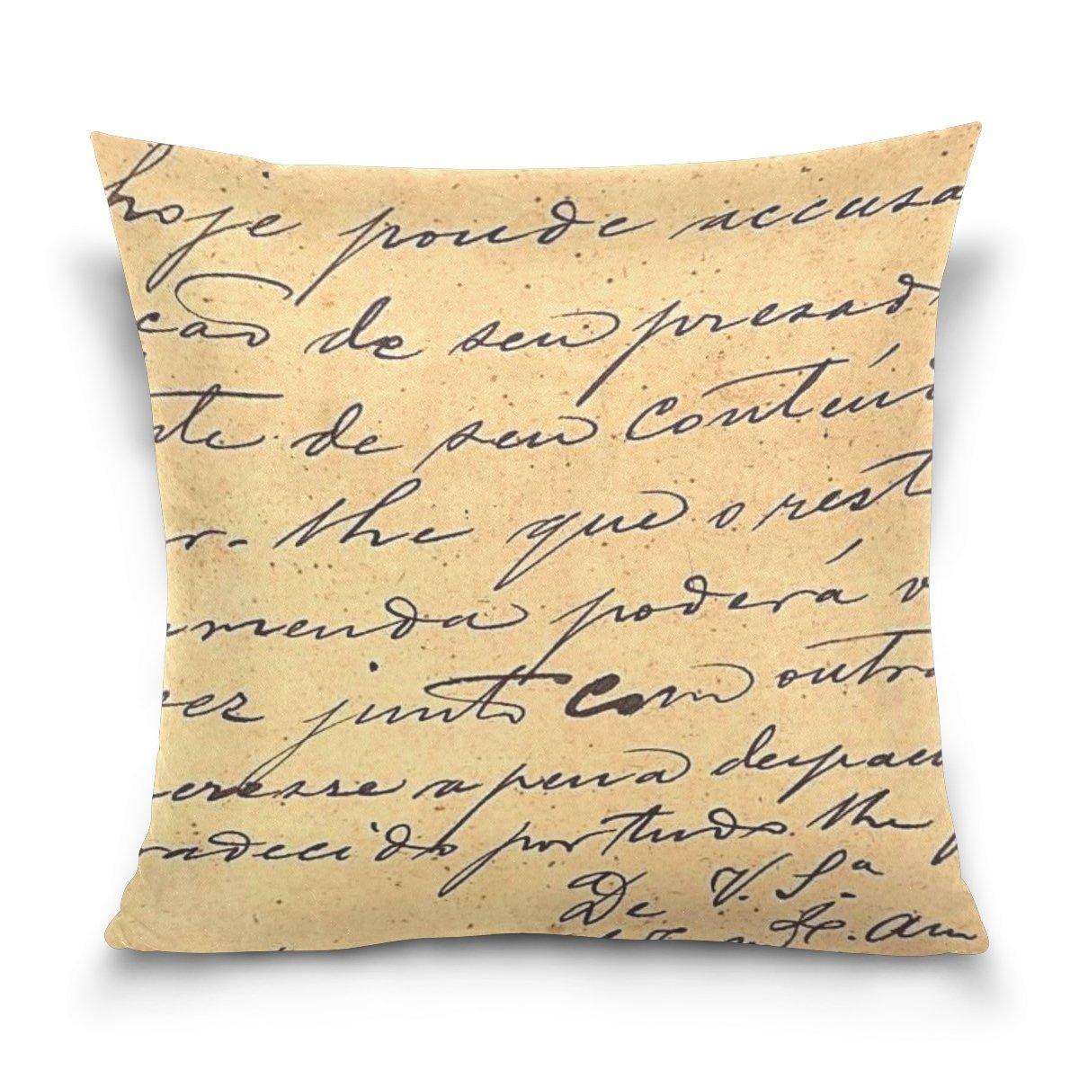 Custom algodón cuadrado Vintage cartas plumas manta funda de almohada carcasa decorativo funda de almohada Home sofá cama 18 x 18 pulgadas: Amazon.es: Libros