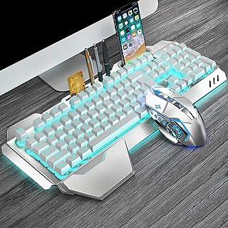 DZSF Tangentbord och spelmus uppladdningsbart trådlöst tangentbord och mus set flytande nyckel mekanisk bakgrundsbelysning...