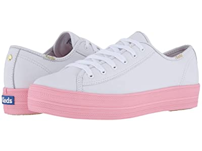 Keds x kate spade new york Triple Kick Leather Color Block (White/Pink) Women