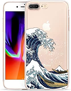 Unov Compatible Case Clear with Design Embossed Pattern TPU Soft Bumper Shock Absorption Slim Protective Cover for iPhone 7 Plus iPhone 8 Plus 5.5 Inch(Great Wave)