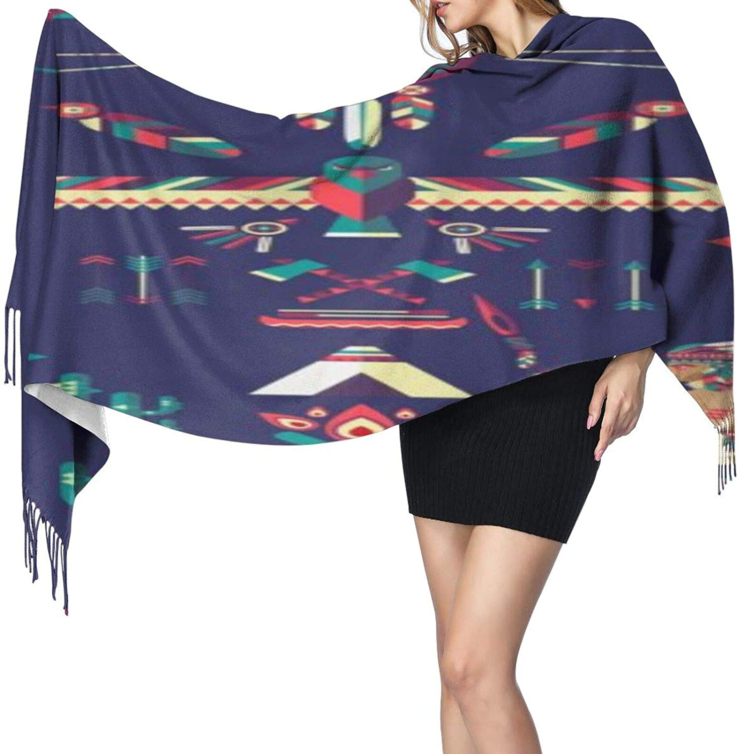 Cashmere fringed scarf native American tribal winter extra large scarf